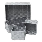 Evideco 4 Piece Checkered Storage Basket Set; Gray