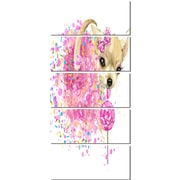 DesignArt 'Sweet Pink Dog without Glasses' 5 Piece Graphic Art on Canvas Set