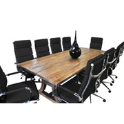 SolisPatio 11 Piece Ligna 8' Rectangular Conference Table Set; Black
