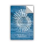 ArtWall Cora Niele Blue Wood Mollusc Wall Mural; 48'' H x 32'' W x 0.1'' D