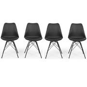 Belleze Side Chair w/ Cushion (Set of 4); Black