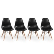 Belleze Dowel Eames Side Chair (Set of 4); Black