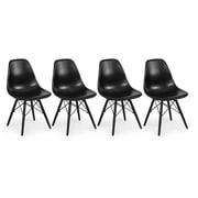 Belleze Eames Molded PlasticSide Chair (Set of 4); Black
