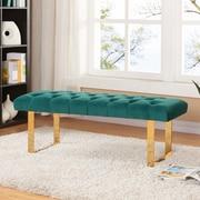 Meridian Furniture USA Ethan Upholstered Bedroom Bench; Green