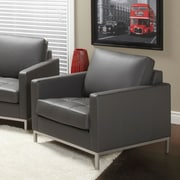 Lind Furniture Regency Top Grain Leather Arm Chair; Grey
