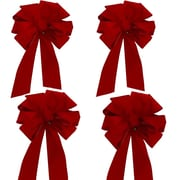 Floral Home Decor Wired Holiday Ribbon and Bow (Set of 4)