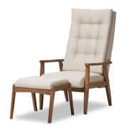 Wholesale Interiors Baxton Studio Rio Upholstered Lounge Chair and Ottoman; Light Beige