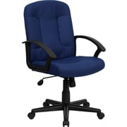 Offex Mid-Back Leather Desk Chair; Navy Blue