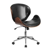 Offex Mid-Back Leather Desk Chair; Black