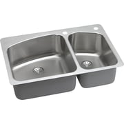 Elkay Harmony 33'' x 22'' Stainless Steel Offset Double Bowl Dual Mount Kitchen Sink w/ Faucet