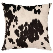 Wooded River Faux Hair on Hide Throw Pillow; Udder Black