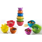 Trudeau Corporation 6 Piece Melamine Stackable Mixing Bowl and Colander Set