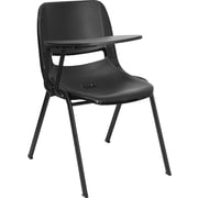 Offex 17.4'' Plastic Tablet Arm Chair; Black