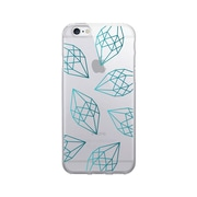 OTM Prints Clear Phone Case, Diamonds Green - iPhone 6/6S