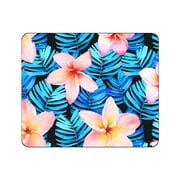OTM Prints Black Mouse Pad, Plumerias Red and Blue