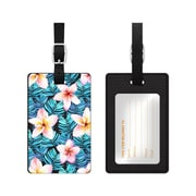 OTM Black Leather Bag Tag, Plumerias Red and Blue