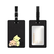OTM Black Leather Bag Tag, Cuddle Cats