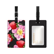 OTM Black Leather Bag Tag, Strawberry Flowers