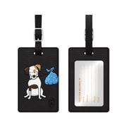 OTM Black Leather Bag Tag, Jack the Terrier