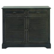 Cole & Grey 2 Door 2 Drawer Wood Accent Cabinet; Black