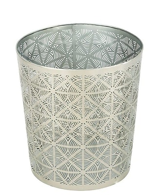 Cole & Grey Metal Waste Basket; Silver