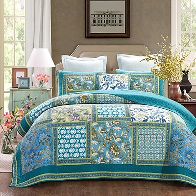 DaDa Bedding Greek Mediterranean Fountain Reversible Quilt Set; Queen WYF078279772874