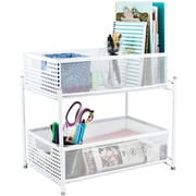 Sorbus 2 Tier Cabinet Stand; White