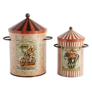 Creative Co-Op Collected Notions 2 Piece Round Tin Storage Bin w/ Lid Set