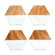 Creative Co-Op Pure Marble and Mango Wood Hexagon Shaped Coaster (Set of 4)
