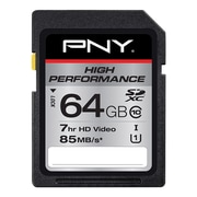 PNY® P-SDXC64GU185-GE High Performance Class 10/UHS-I 64GB SDXC Flash Memory Card