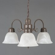 "Yosemite Manzanita 13"" x 24"" 3-Light Chandelier W/Frosted White Marble Glass, Dark Brown"
