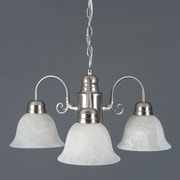 "Yosemite Manzanita 13"" x 24"" 3-Light Chandelier W/Frosted White Marble Glass, Satin Nickel"