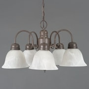 "Yosemite Manzanita 13"" x 24"" 5-Light Chandelier W/Frosted White Marble Glass, Dark Brown"