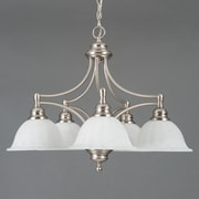 """Yosemite Broadleaf 20"""" x 28"""" Ceiling Light W/Frosted White Marble Glass Shade, Nickel"""