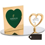 MatashiCrystal 24K Gold Plated Crystal Studded Heart Figurine Picture Frame