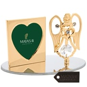 MatashiCrystal 24K Gold Plated Genuine Crystals Angel Holding a Heart Picture Frame