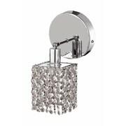 Elegant Lighting Mini 1-Light Round Canopy Square Wall Sconce; Crystal (Clear) / Elegant Cut