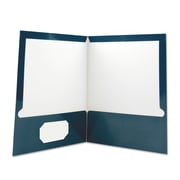 Universal® Laminated Two-Pocket Folder, 11 x 8 1/2, Navy, Each (BSN44430)