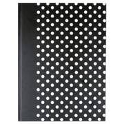 Universal® Casebound Hardcover Notebook, Black with White Dots, 1-Subjects, 10 1/4 x 7 5/8, Each (66350)