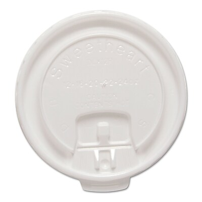 SOLO Cup Company Lift Back & Lock Tab Cup Lids For Trophy Insulated Foam Hot/Cold Cups, White, Polystyrene, 100/Pack SCCDLX12RPK