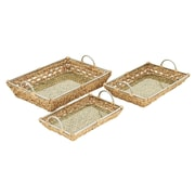 Cole & Grey 3 Piece Metal and Glass Wicker Basket Set