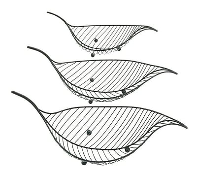 Cole & Grey 3 Piece Metal Leaf Basket Set WYF078279763047