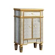 Elegant Lighting Florentine 1 Drawer 2 Door Cabinet; Silver & Antique Mirror
