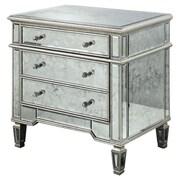 Elegant Lighting Florentine 3 Drawer Chest; Silver & Antique Mirror