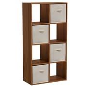 Homestar 47'' Cube Unit w/ Fabric Bins Bookcase; Wheat  Alder