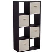 Homestar 47'' Cube Unit w/ Fabric Bins Bookcase; Black Brown