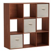 Homestar 35'' Cube Unit w/ Fabric Bins Bookcase; Cherry Spice