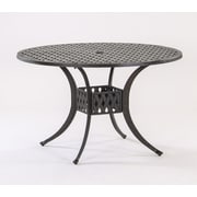 AIC Garden & Casual Basket Weave Round Cast Aluminum Bistro Table; 48'' L x 48'' W