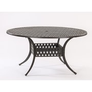 AIC Garden & Casual Basket Weave Round Cast Aluminum Bistro Table; 60'' L x 48'' W