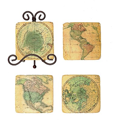 Creative Co-Op Square Resin Map Coaster WYF078279786677